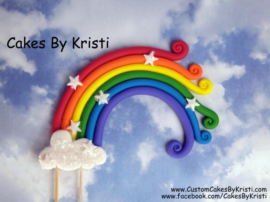 "Wedding - Fondant Rainbow Cake Topper- 6"" (MADE TO ORDER)"