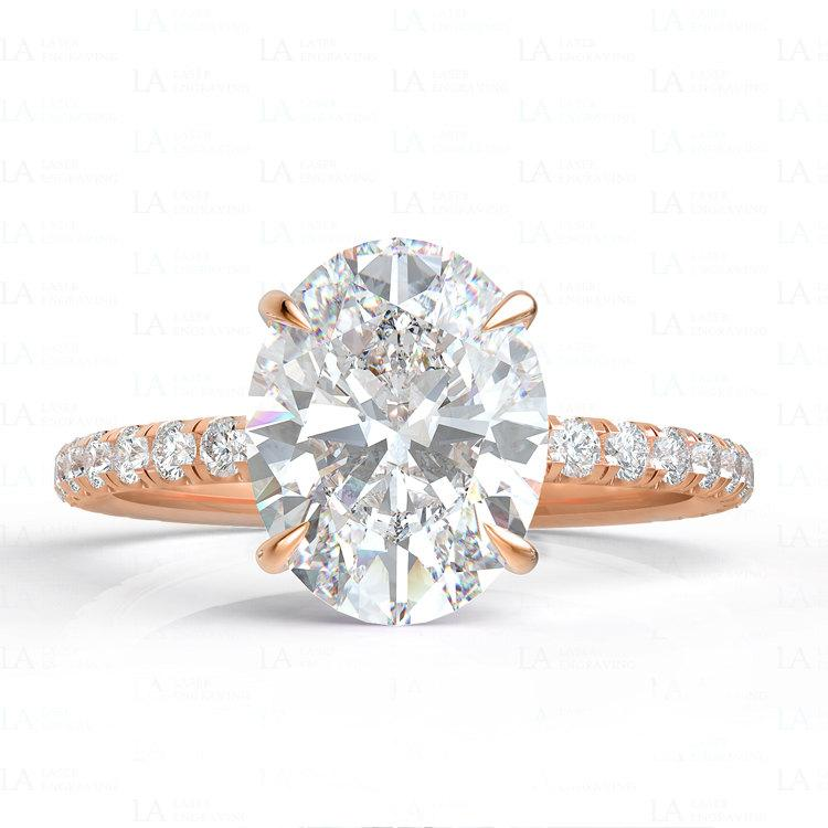 Rose Gold Engagement Ring Diamond Ring Moissanite Ring Oval Moissanite Ro