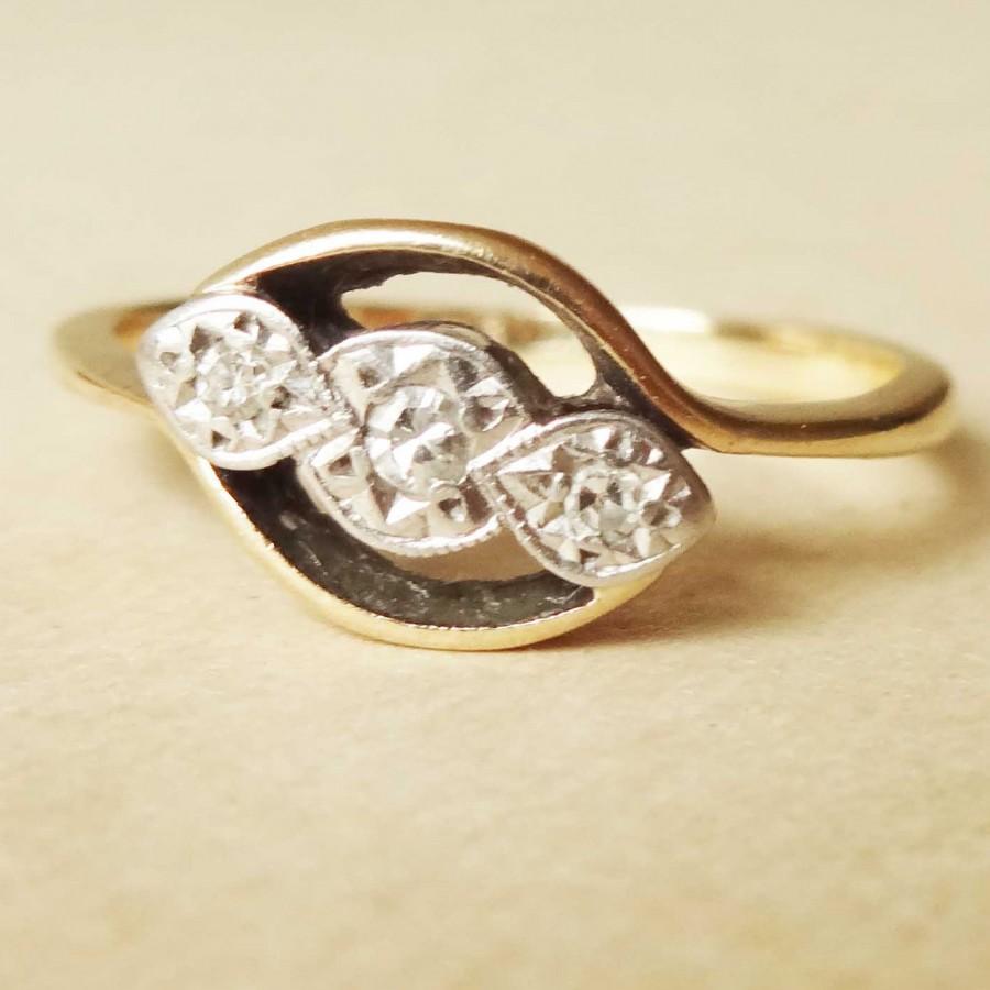 Свадьба - Art Deco Geometric Diamond Trilogy Ring, Vintage 9k Gold, Platinum and Diamond Engagement Ring Approx. Size US 5.5 / 5.75