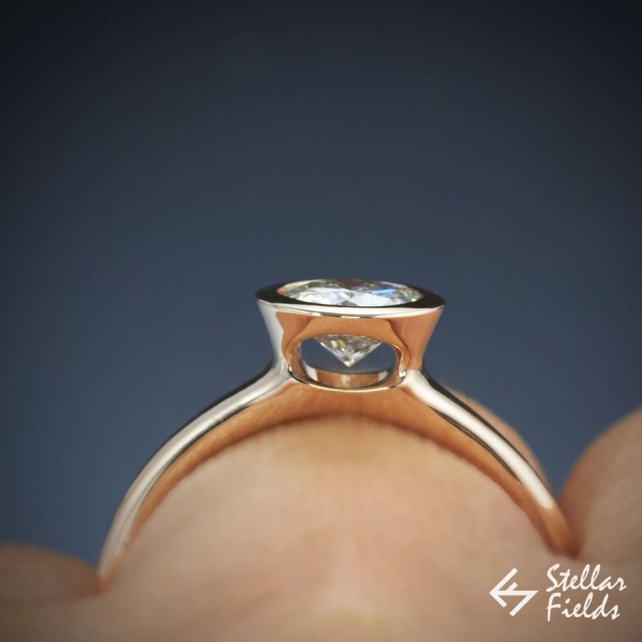 Свадьба - Custom Order 1ct 6.5mm Moissanite Bezel Ring Forever Brilliant Moissanite Bezel Engagement Ring Peekaboo Ring 14k, 18k Rose Gold or Platinum