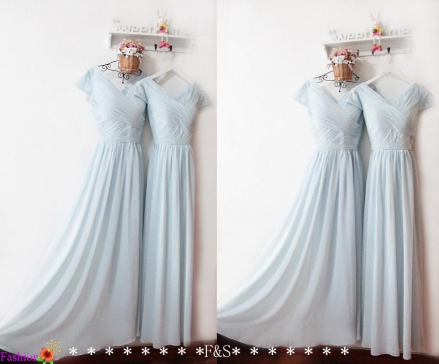Cap Sleeve Bridesmaid Dress,Dusty Blue Bridesmaid Dress,Long Chiffon ...