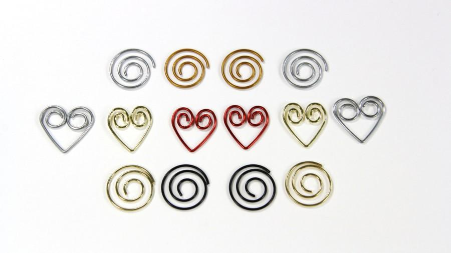 Hochzeit - 100 - Paper Clips (Heart or Spiral) / Silver, Gold or Red Heart Paper Clips / Silver, Gold or Black Spiral Paper Clips