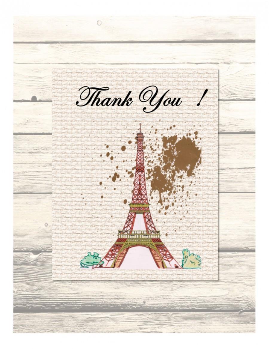 Wedding - Eiffel Tower Paris- Destination Wedding Thank You Cards Customizable - Printable Digital Download