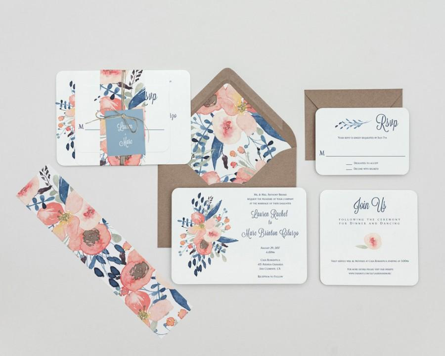 Mariage - Dusty Blue and Blush Floral Wedding Invitations,Rustic Modern Floral Wedding Invitation Set,Rustic Floral Wedding Invite,Blue Floral Wedding