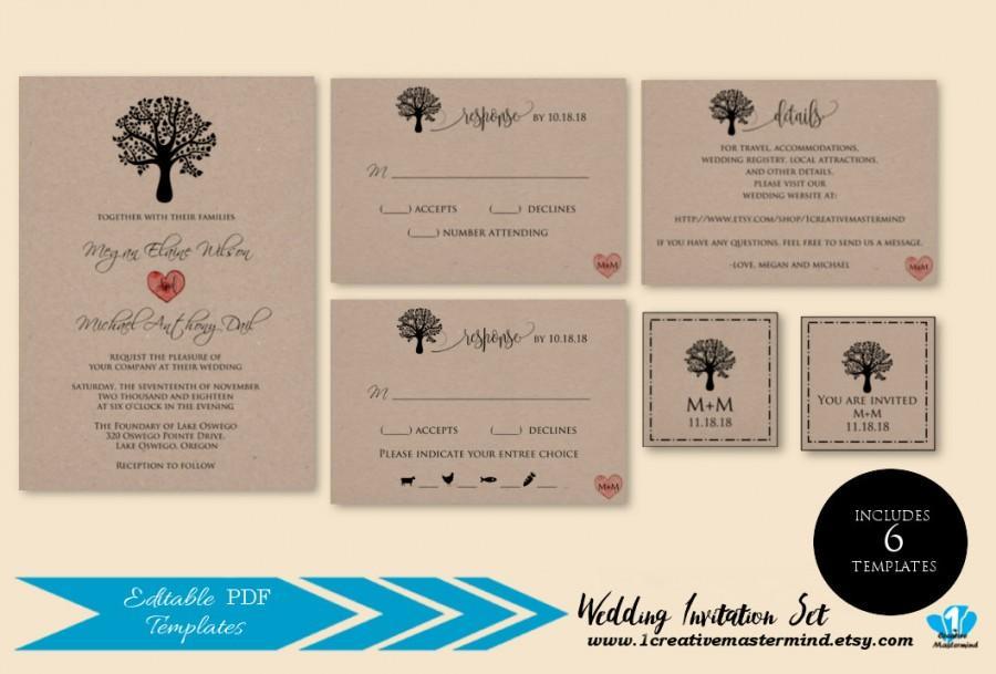 Mariage - DIY Rustic Wedding Invitation Template Printable, Rustic Tree Invitation set, rsvp, detail, monogram, tag, seal, Instant Download, -1