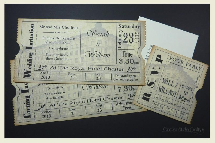 Ticket Style Wedding Invitation, Vintage Ticket Wedding Invitation ...