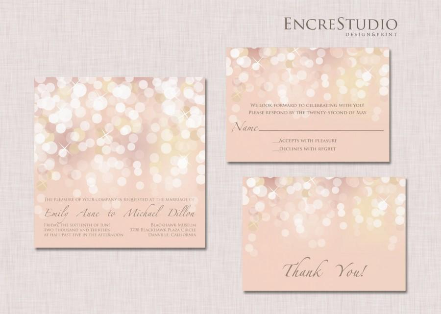 Hochzeit - SAMPLE - Gold and Blush Bokeh Wedding Invitation