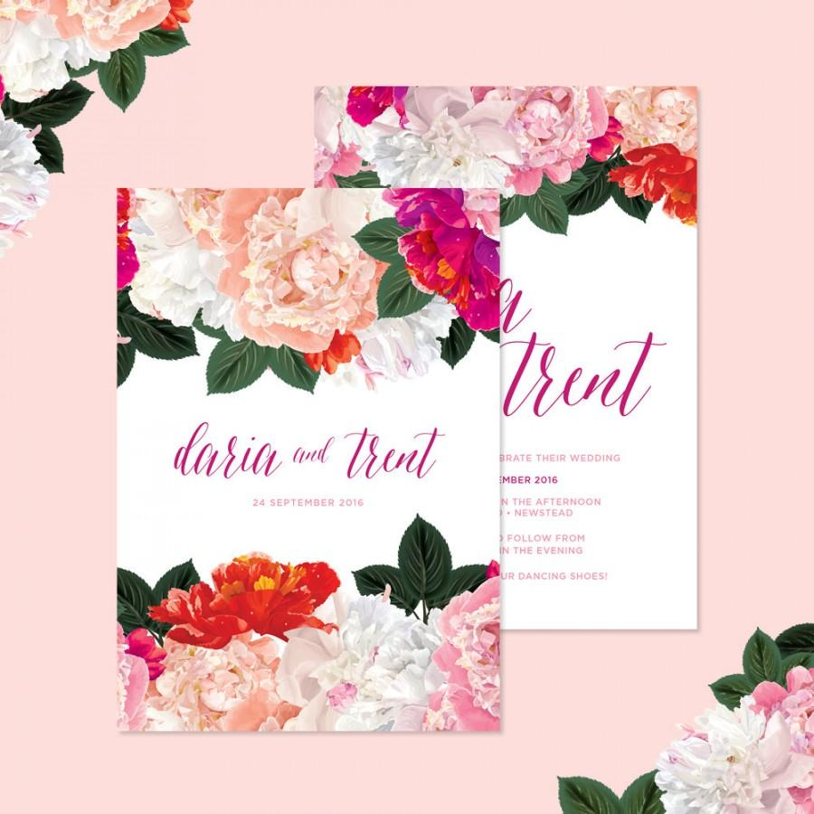 Düğün - Bright and Fun Floral Wedding Invitations • Ready to Post Invitations • Pink and Peach Peonies with Elegant Calligraphy