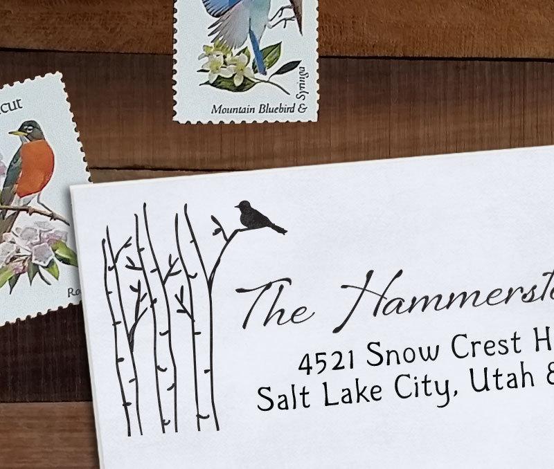 زفاف - Custom Address Stamp, Christmas Address, Wedding address stamp, Calligraphy Address Stamp, Self inking or Eco Mount stamp - Birch and Bird