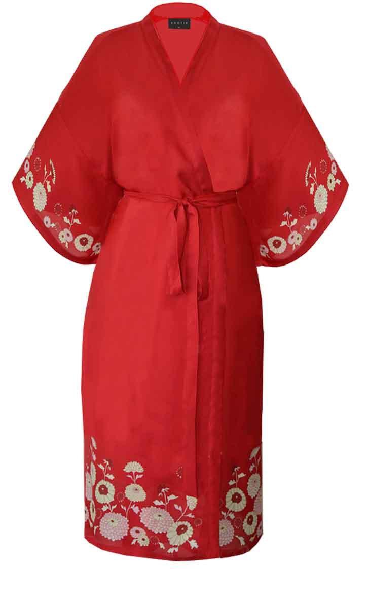 Wedding - Kimono Style Dressing Robe  Opium Print  Red