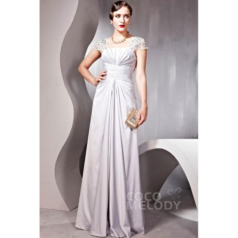 Hochzeit - Grand Sheath-Column Square Floor Length Evening Dress with Pleating and Beading COSF1403A - Top Designer Wedding Online-Shop