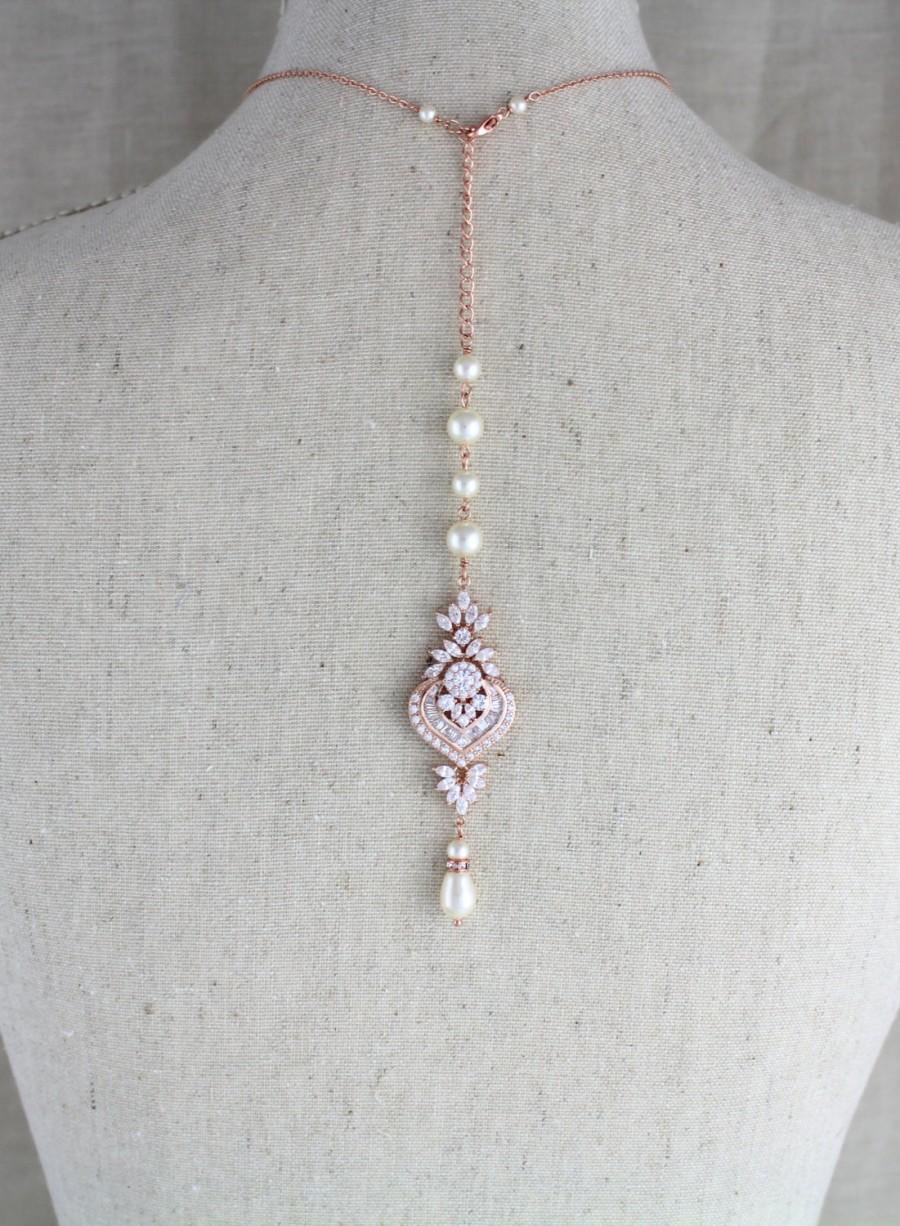 Свадьба - Bridal backdrop necklace, Bridal jewelry, Rose gold backdrop necklace, Bridal necklace,  Pearl necklace, Art Deco, Crystal necklace, EMMA