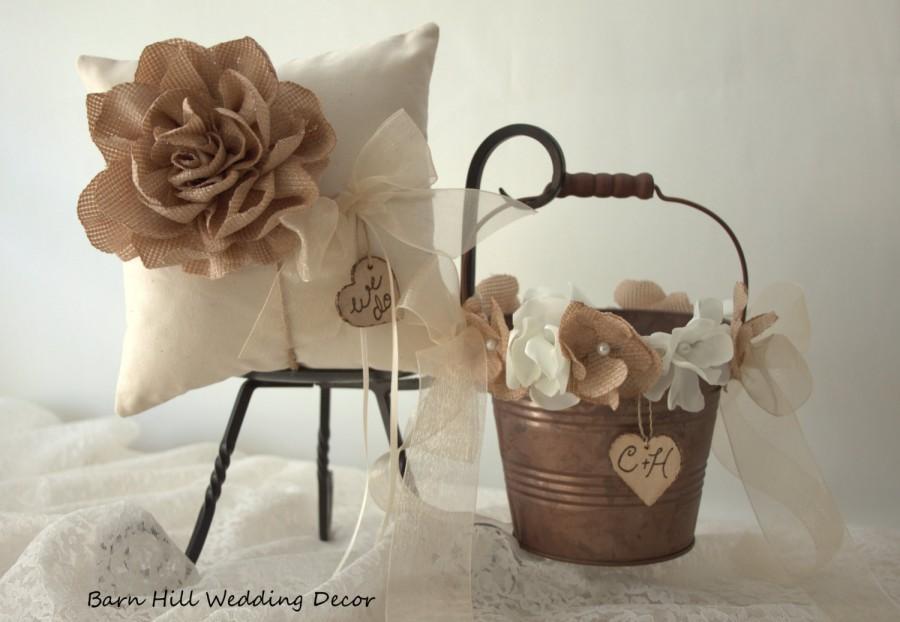 Свадьба - Ring Bearer Pillow, Flower Girl Basket, Wedding Ring Pillow, Ivory, Bronze