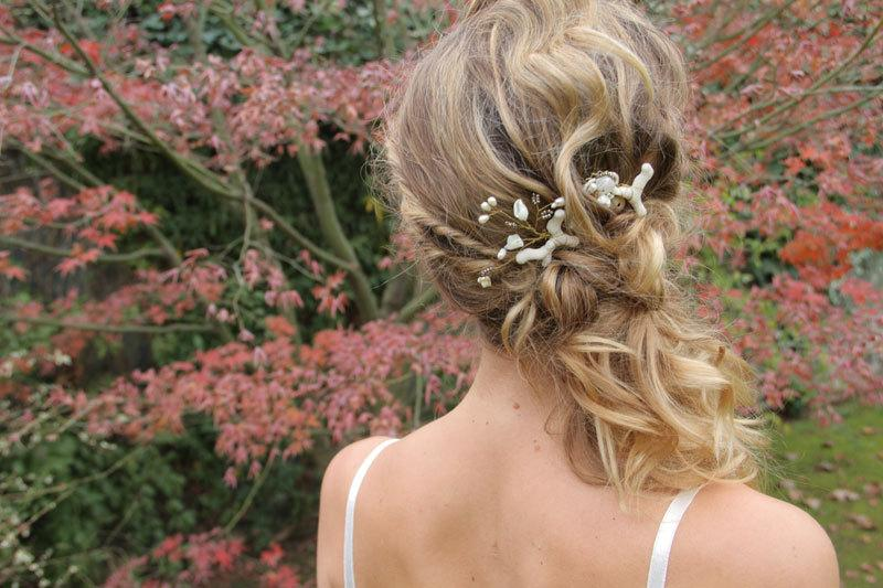 Wedding - Beach Wedding hair pins, beach wedding hair accessories, destination wedding, set of 2 bobby pins, Bridal Hair, bridesmaid gift