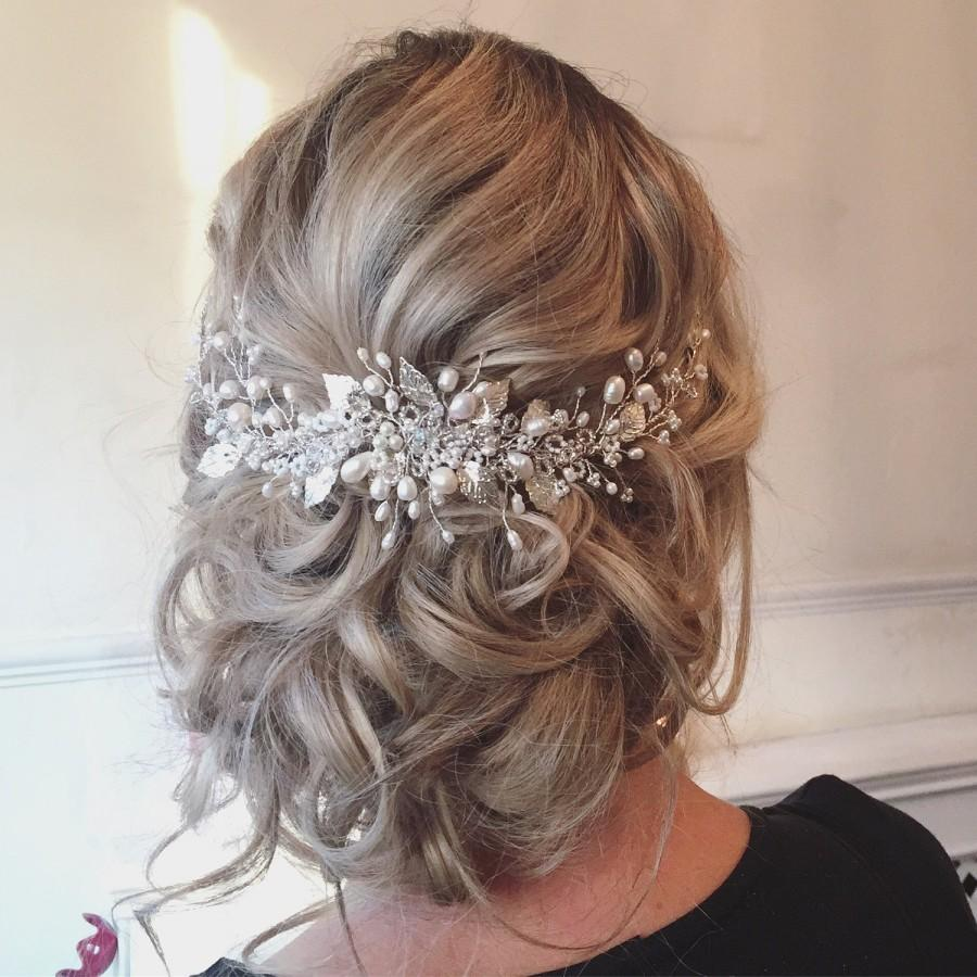 Hochzeit - Roseanna Wedding Hairvine - FREE SHIPPING! Bridal Hair Accessories, Tiara, Circlet, Silver, Pearl and Crystal, boho, vintage, fairytale, cro
