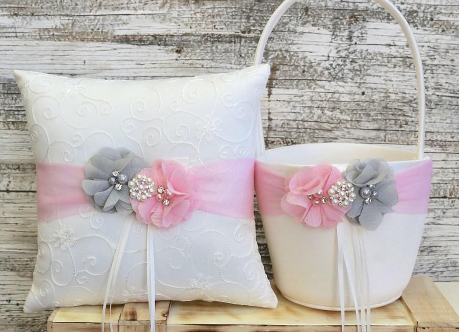 زفاف - Your Colors , Flower Girl Basket and Ring Bearer Pillow Set , Gray and Pink Ring Bearer Pillow , Flower Girl Basket , Wedding Pillow