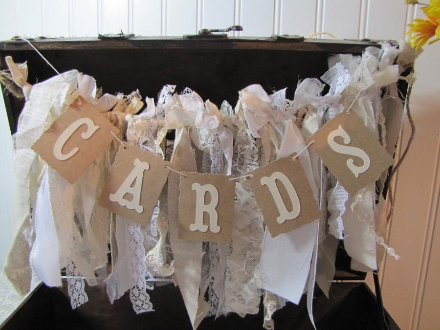 Mariage - Tattered Fabric Lace Garland Cards Banner Shabby Chic Vintage Barn Wedding Romantic Prairie