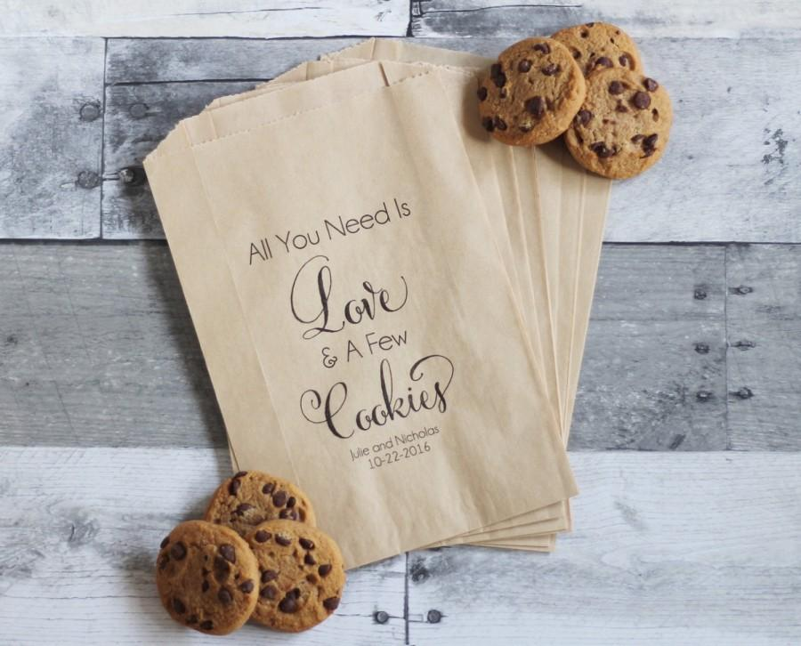 Wedding Cookie Bags All You Need Is Love And Cookies Favors Treat Table Personalized Favor