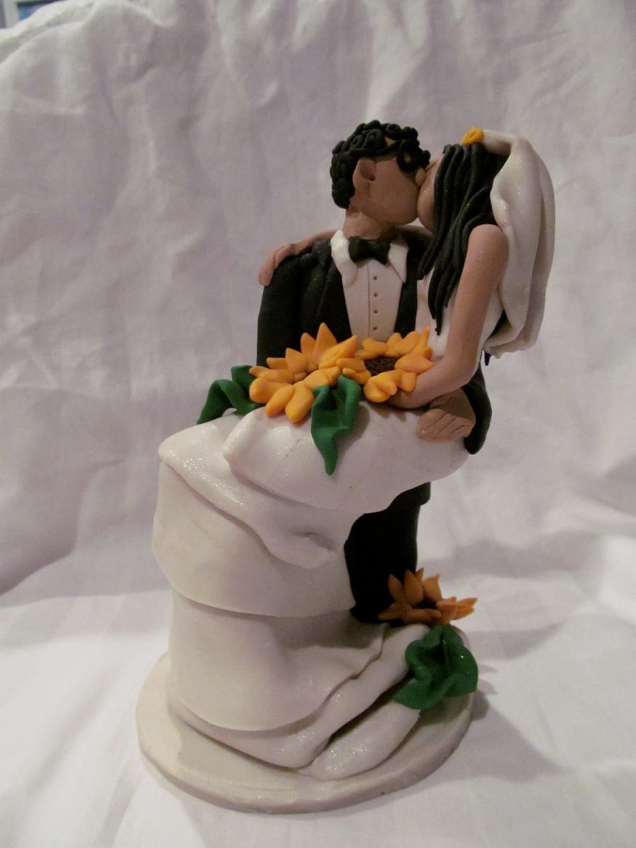 Romantic Hand Sculpted Custom Wedding Cake Topper Sunflowers