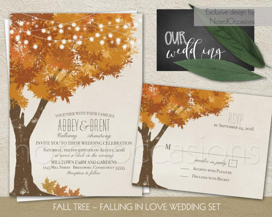 Düğün - Rustic Fall Wedding Invitations  Kit Autumn Oak Tree Wedding with Rustic Tree Leaves  Fall Wedding Invitation Digital Printable Wedding Set