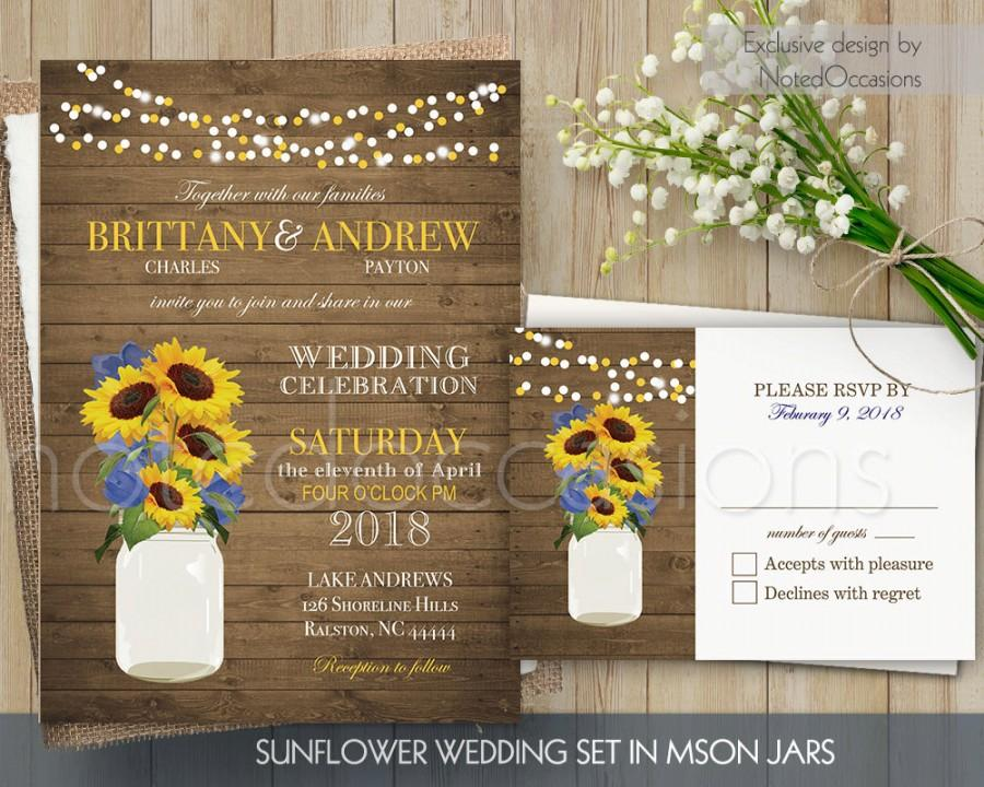Wedding - Sunflower Wedding Invitation Set Printable Rustic Mason Jar Country Wedding Suite Sting Lights Wedding RSVP barn wood DIY Digital Template