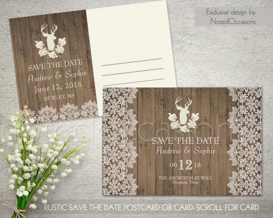 Свадьба - Printable Save the date, Rustic Save the Date, Deer Wedding Save-the-date Postcard, Lace Save the Date Card Printable, Digital File