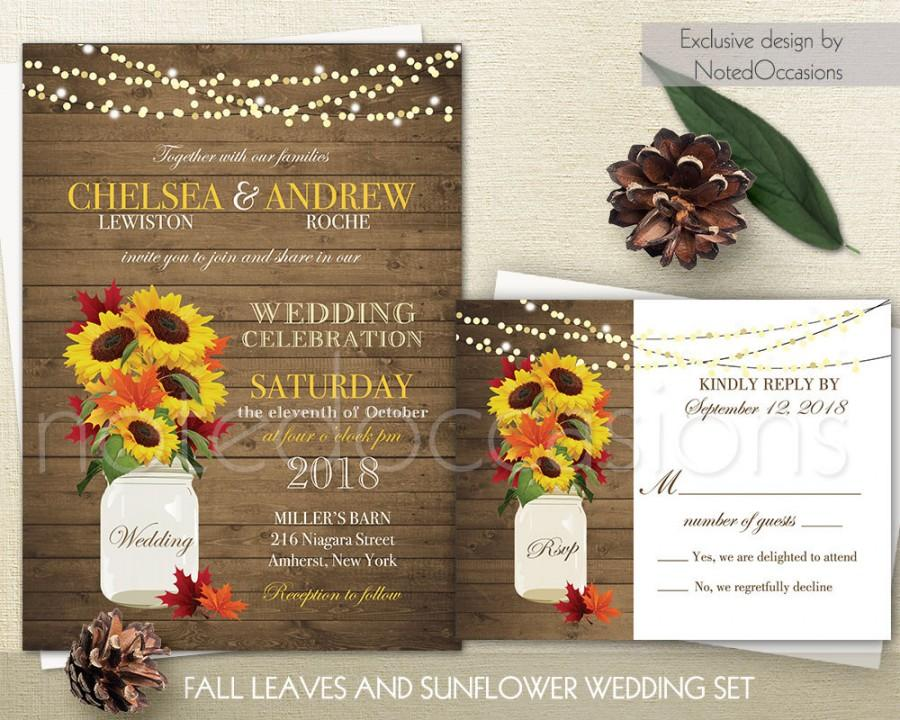 Wedding - Rustic Fall Wedding Invitations Suite Fall Leaves Sunflowers Country Wedding Barn Wood and Mason Jar Wedding Invite, DIY Printable Digital