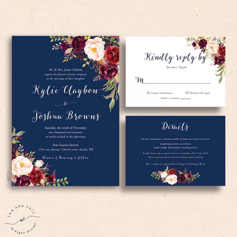 Свадьба - Navy Floral Wedding Invitations, Navy Wedding Invite, Marsala Burgundy Maroon Invitation Suite, Navy and Red, Spring Wedding, Summer - Kacey
