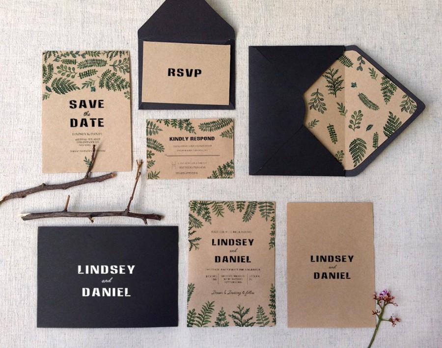 Свадьба - Woodsy rustic watercolor kraft Botanical Ferns Wedding Invitations Printable set of 3