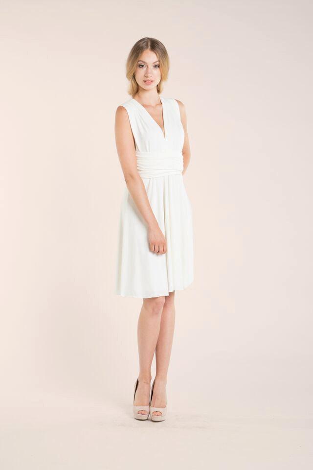 Mariage - Ready-to-ship short wedding dress, knee length white dress, ready to ship ivory dress, short white infinity dress, wedding reception dress