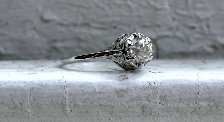 Свадьба - Ornate Antique 18K White Gold Diamond Solitaire Engagement Ring - 0.65ct.
