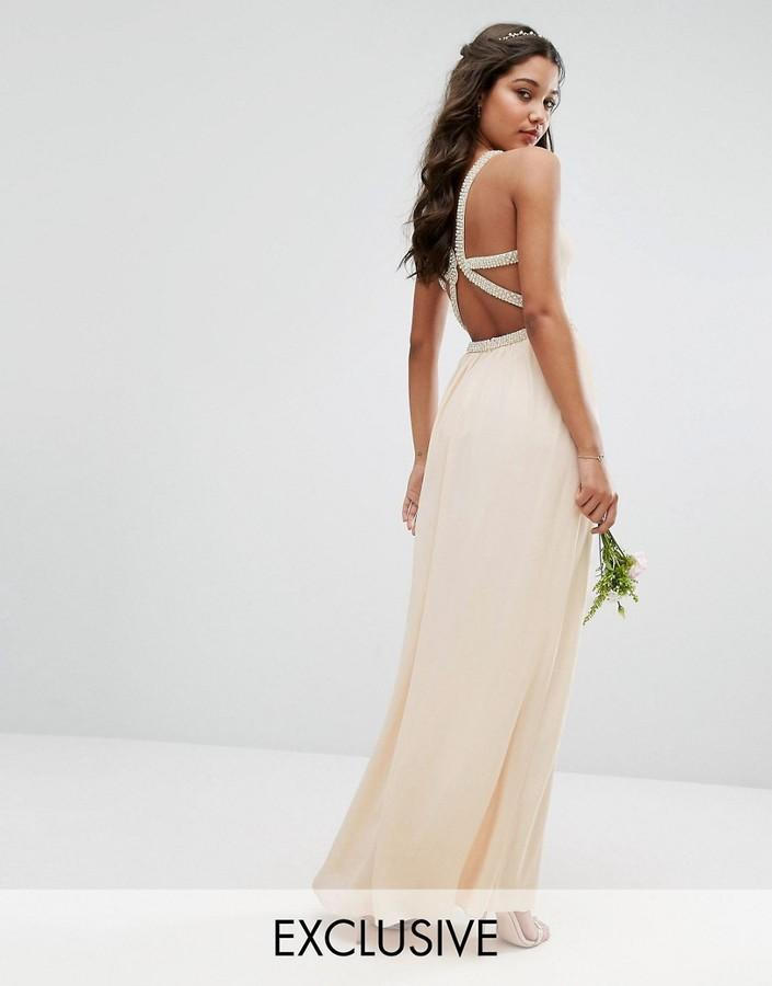 Свадьба - TFNC WEDDING Embellished Maxi Dress with Embellished Strappy Back