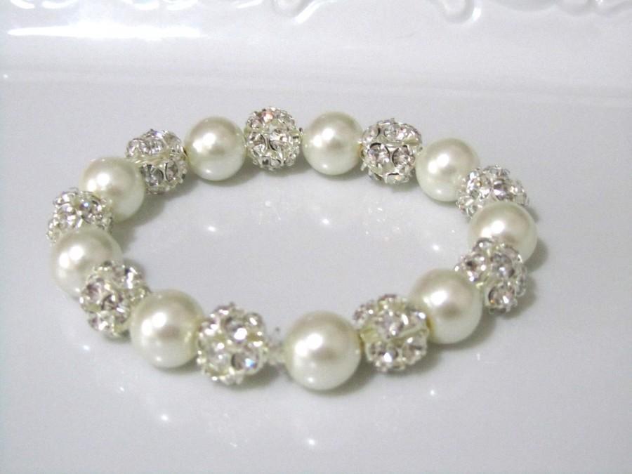 Свадьба - Ivory pearl bracelet with crystal hinestone balls,  bridal bracelet, bridesmaids bracelet, wedding jewelry