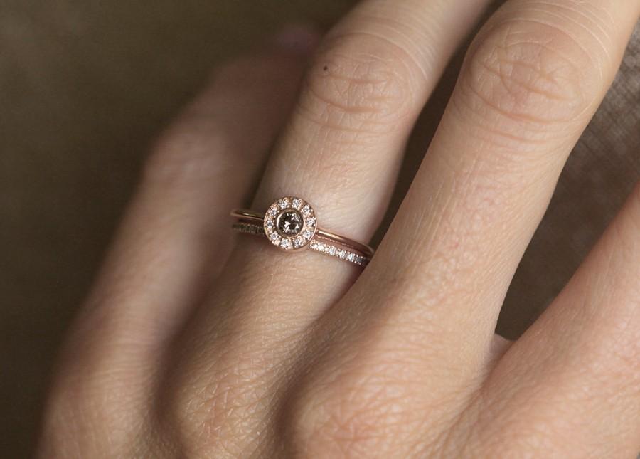 Свадьба - Rose Gold Ring Set, Rose Gold Diamond Set, Rose Gold Wedding Set, Halo Diamond Ring with Eternity Diamond Ring, 14k Rose Gold Diamond Band