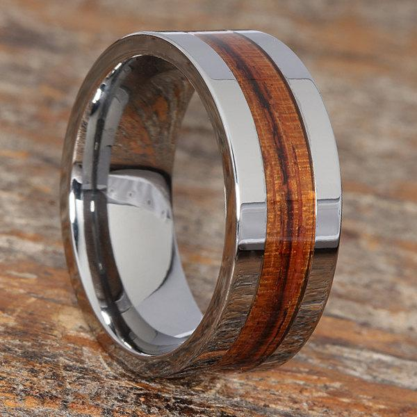 Wooden Inlay Wedding Band Tungsten Carbide Ring Comfort Fit Design