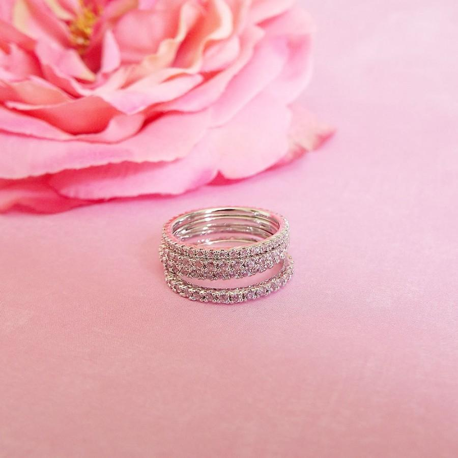 1.5mm Pink Sapphire Full Eternity Thin Stacking Band Cubic Zirconia ...