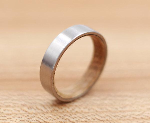 Свадьба - Titanium Ring Lined with Wood from a Whiskey Barrel - Wedding Band - Unique Wedding Ring