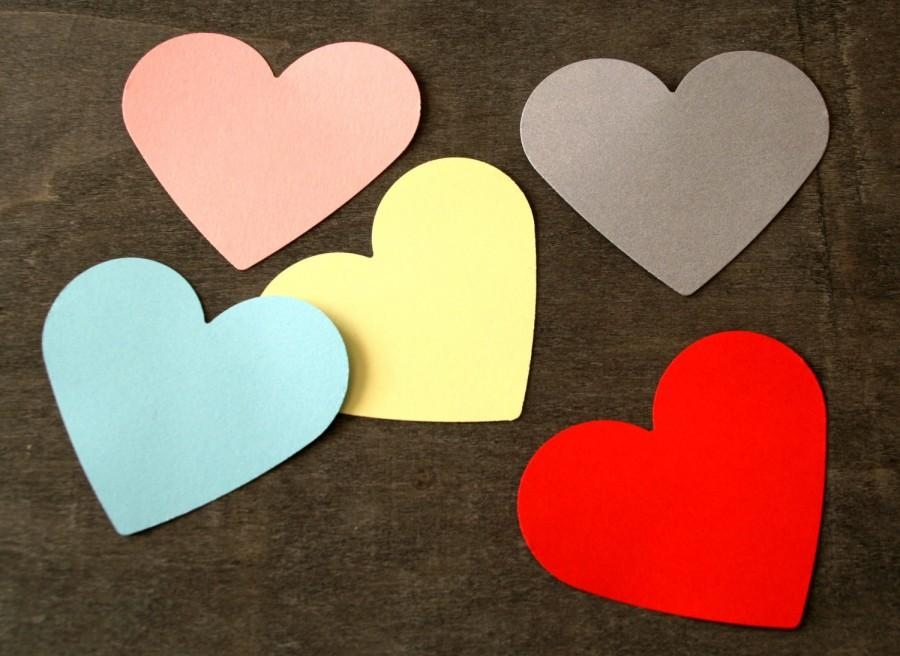 Wedding - Any color 3'' Large HEART 50 pcs cardstock cutout, die cut Love hearts, Large heart, Large paper hearts engagement party, Valentines