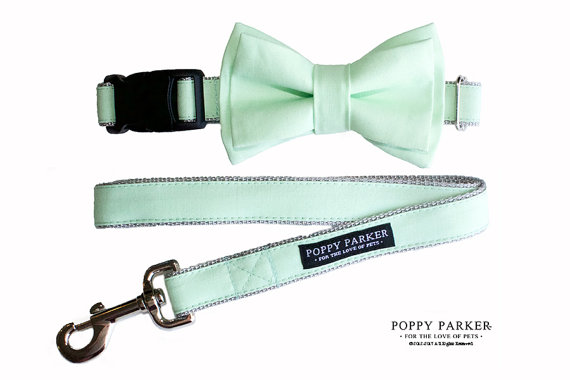 Mariage - Mint Green Layered Dog Bow Tie