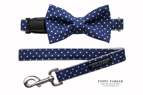 Wedding - Navy Polka Dot Dog Bow Tie - Optional Matching Dog Collar Dog Leash
