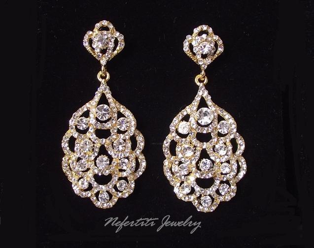 Свадьба - Gold Bridal Earrings, Gold Wedding Earrings, Rhinestone Earrings, Crystal Wedding Earrings, Chandelier Earrings, Gold bridal Jewelry