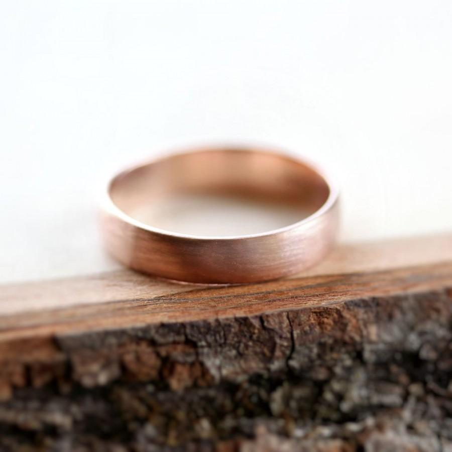 Свадьба - Rose Gold Men's Wedding Band, Brushed 4.5mm Low Dome 14k Recycled Hand Carved Rose Gold Wedding Ring  - Made in Your Size