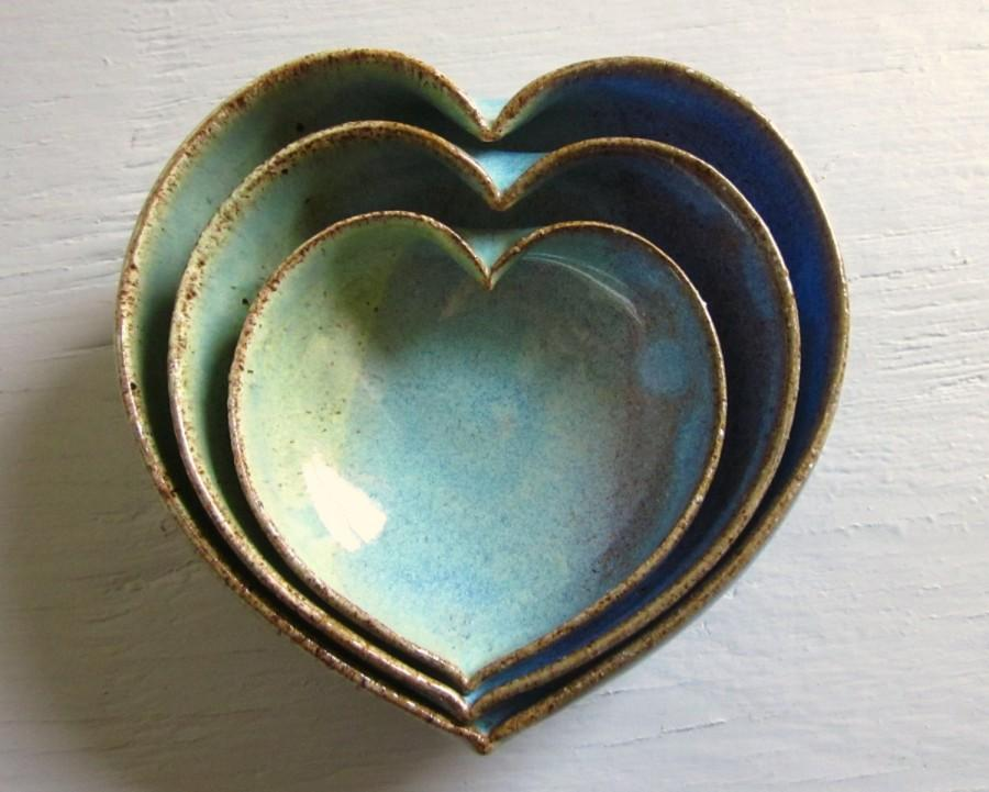 Свадьба - pottery heart bowls - wheel thrown pottery - 4 inches