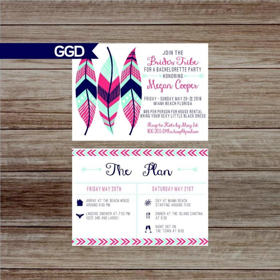 Hochzeit - Boho Chic Tribal Bachelorette Party Invitation with Schedule, bride's tribe bachelorette party, Hen's Party-Printed Invites or Digital File
