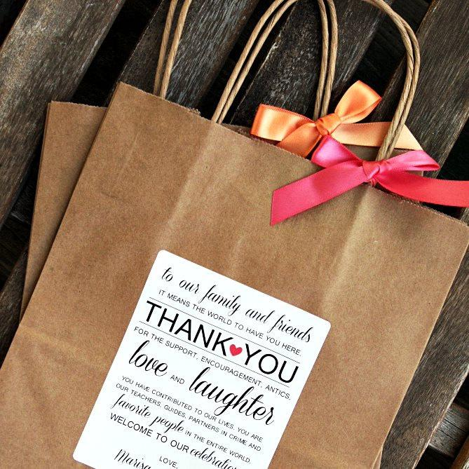 """Свадьба - Personalized """"Thank You"""" Wedding Welcome Bag"""