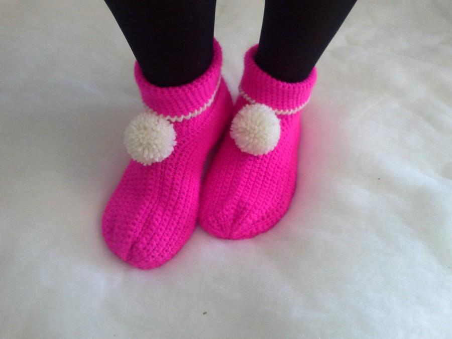 Mariage - Allegre pantofole di lana -  Wool Slippers - Babbucce - scarpe - calze - crochet - uncinetto Handmade - Made in Italy