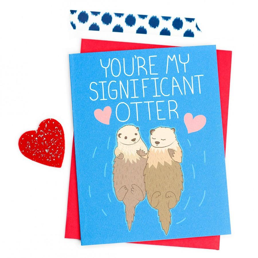 funny love card valentines day card significant otter boyfriend card for girlfriend anniversary card gift for her i love you - Valentines Day Cards For Her