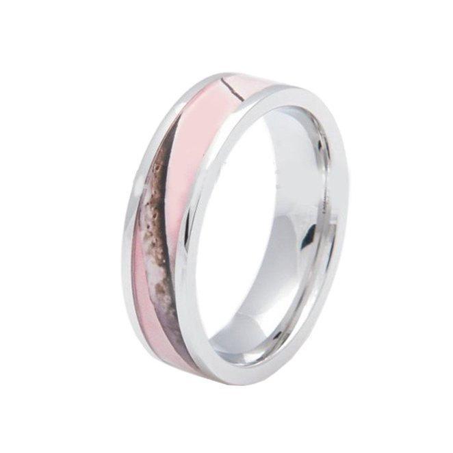 Свадьба - Pink Womens Camo Stainless Steel Hunting Wedding Band Ring