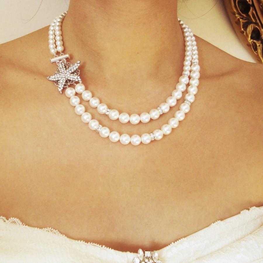 Свадьба - Starfish Bridal Necklace, Beach Wedding Necklace, Art Deco Bridal Jewelry, Silver Starfish Necklace, Destination Wedding Jewelry, SEA MAIDEN