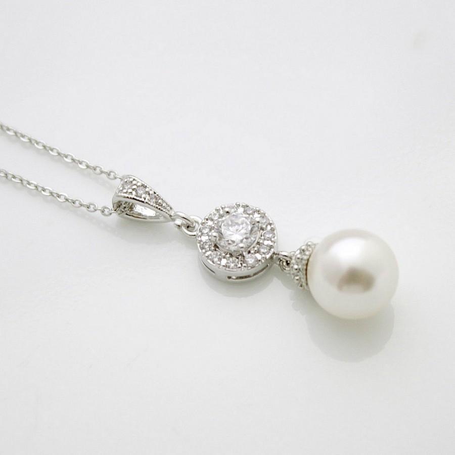 Свадьба - Bridal Pearl Drop Necklace Pearl Crystal Bridal Necklace White OR Cream Swarovski Pearl Necklace Pendant Wedding jewelry, Alena